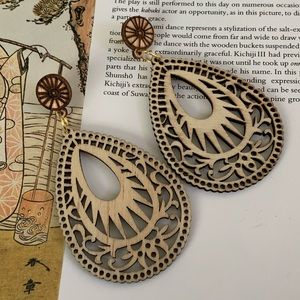 Jewelry - 2 for $20///Intricate Wood Cut drop Earrings